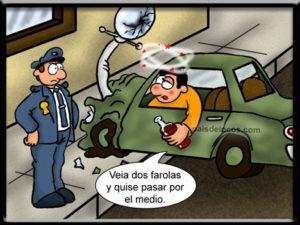 humor grafico borracho y policia