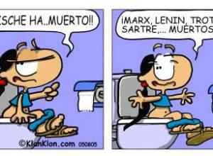 chiste dios ha muerto nietzsche historieta humor wc nena cagando dibujo