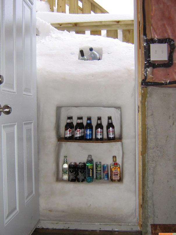 tirar de imaginación utilizando nieva como nevera